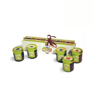 Caixa de 5 doces miniatura com misturas de Frutos Vermelhos